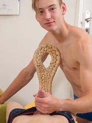 Sexy blonde twink Casper Ivarsson fucks Nick Danner bareback.