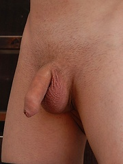 Cute gay boy stroking his sweet uncut dick