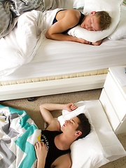 Blond twink Casey Tanner awakens to find hunky Alex Vaara passed out on his floor